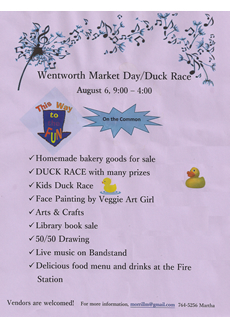 Wentworth Market Day/Duck Race flyer